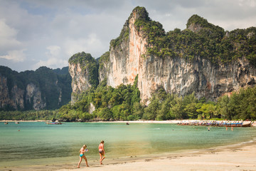 Perfect vacation with blue sky at Railay beach in Krabi Thailand