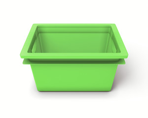 Green plastic box for toys
