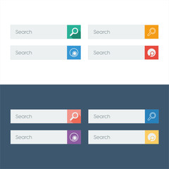 Search flat design icons set in colorful bars for graphic user
