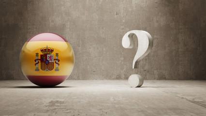 Spain. Question Mark Concept.