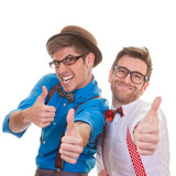humour, business men with thumbs up for success poster