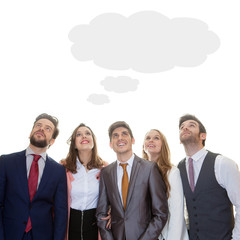 business team with ideas thought cloud