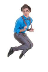 goofy business man jumping