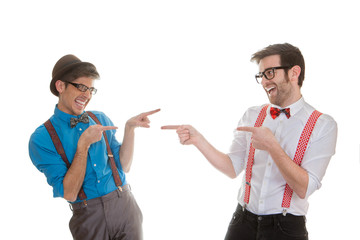 quirky business men pointing