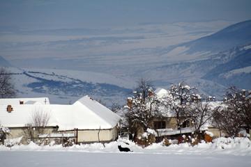 Winter rural landscape in Romania, Europe