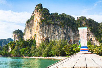 boat swims to the island,Krabi,Thailand