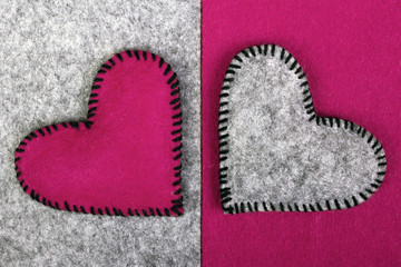 felt hearts on two different backgrounds