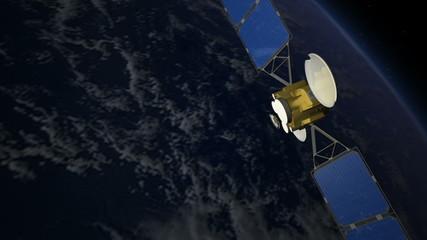 Communications satellite in orbit over Earth
