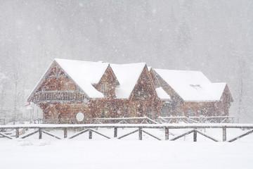 Winter snowing landscape