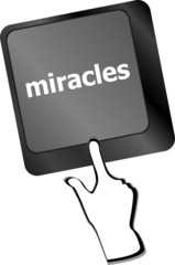 Computer keyboard key button with miracles text