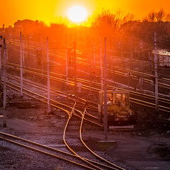 Sunset on the railroad