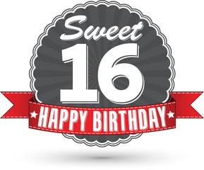 Happy birthday 16 years retro label with red ribbon, vector illu