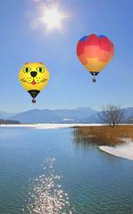 Heißluftballons am Tegernsee, Winterlandschaft