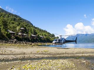 Helikopter landet in Huinay
