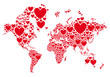 Love, world map with red hearts, vector