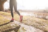 Fototapeta Female Runner Legs Closeup on Off Road Path.