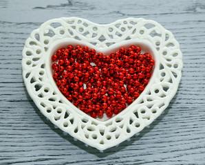 saucer, beads, valentines