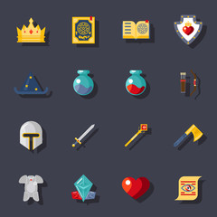 Fantasy game flat icons