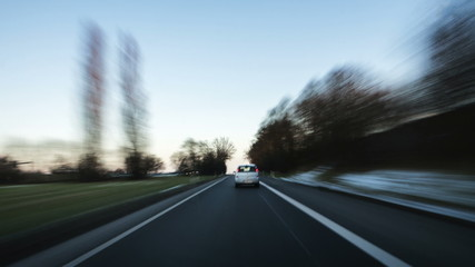 Time lapse of a trip on a German highway at dusk