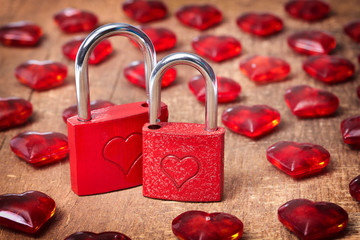 vintage card with locks and red hearts