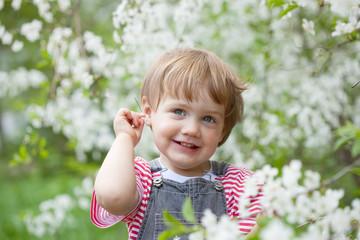 baby girl  in spring garden