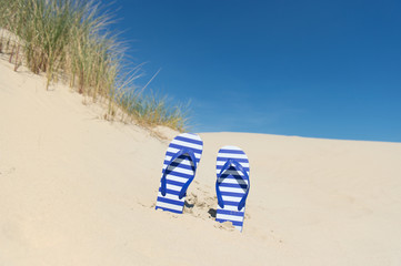 flip flops in sand