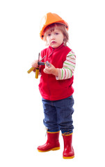baby in hardhat with tools