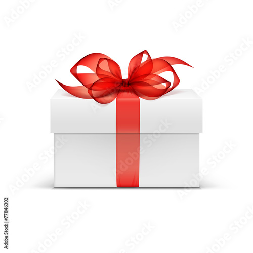 White Square Gift Box with Red Ribbon and Bow - 77846302