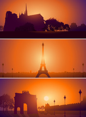 Set of Paris France city skyline