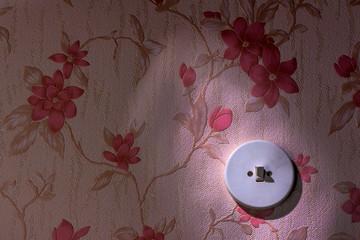 Alte Tapete mit Lichtschalter