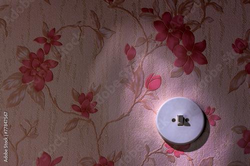 canvas print picture Alte Tapete mit Lichtschalter