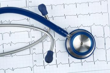 Stethoskop und Elektrokardiogramm