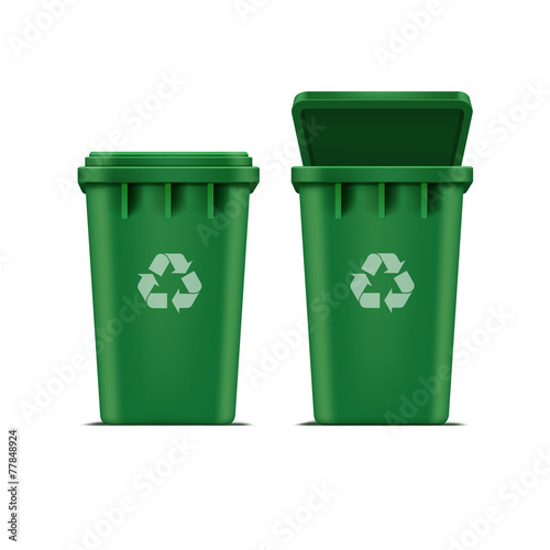 Vector Green Recycle Bin for Trash and Garbage - 77848924