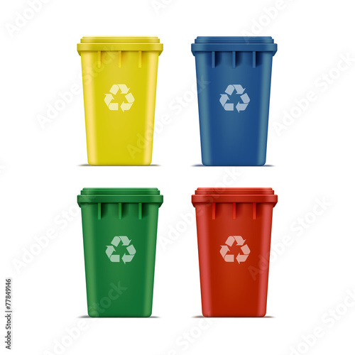 Vector Set of Recycle Bins for Trash and Garbage
