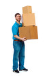 Young male carrying moving boxes