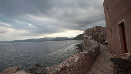 Sailing near the city-fortress of Monemvasia in Greece.