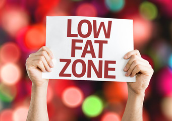 Low Fat Zone card with colorful background