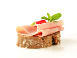 Open faced ham sandwich