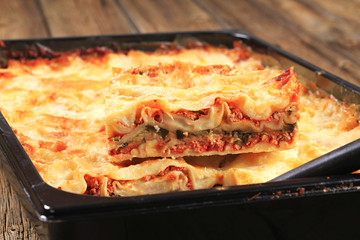 Lasagne in a baking pan