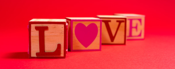 Valentine's Day decoration with the word LOVE