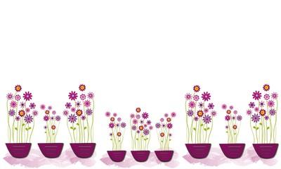 Ramos de flores en macetas