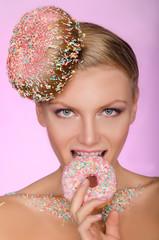 beautiful woman, creative hairstyle bite of donut