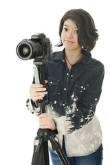 Young Photographer with Her Gear