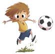 Zdjęcia na płótnie, fototapety, obrazy : niño jugando a fútbol con balón