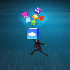 Man hitting cloud box illuminated app icons with tech background