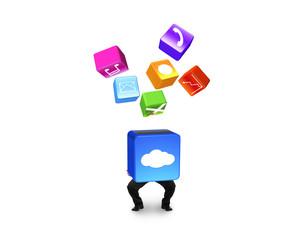 Man holding cloud box illuminated app icons isolated on white