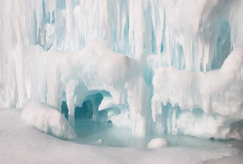 Frozen lake inside the ice cave