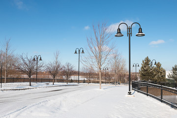 Deserted town street on winter morning
