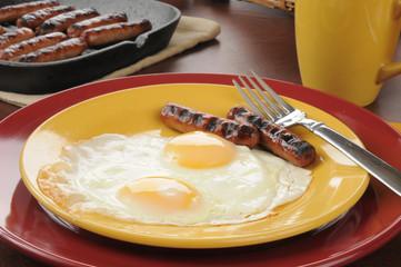 Sausage and eggs closeup
