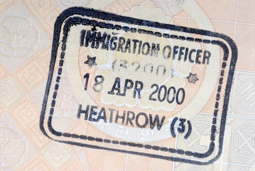 UK immigration arrival passport stamp